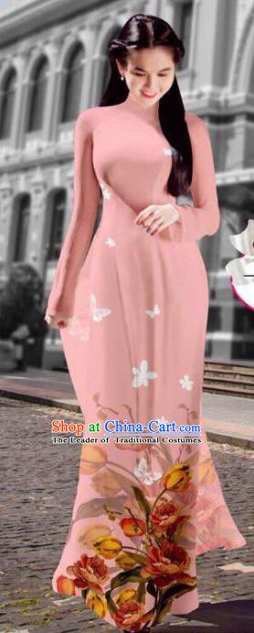 Asian Vietnam Costume Vietnamese Trational Dress Printing Light Pink Ao Dai Cheongsam Clothing for Women