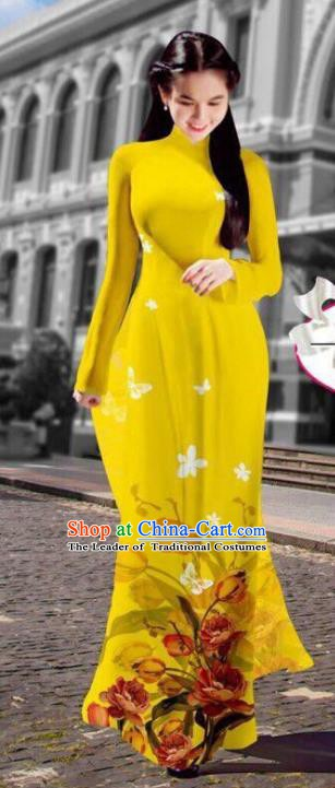 Asian Vietnam Costume Vietnamese Trational Dress Printing Yellow Ao Dai Cheongsam Clothing for Women