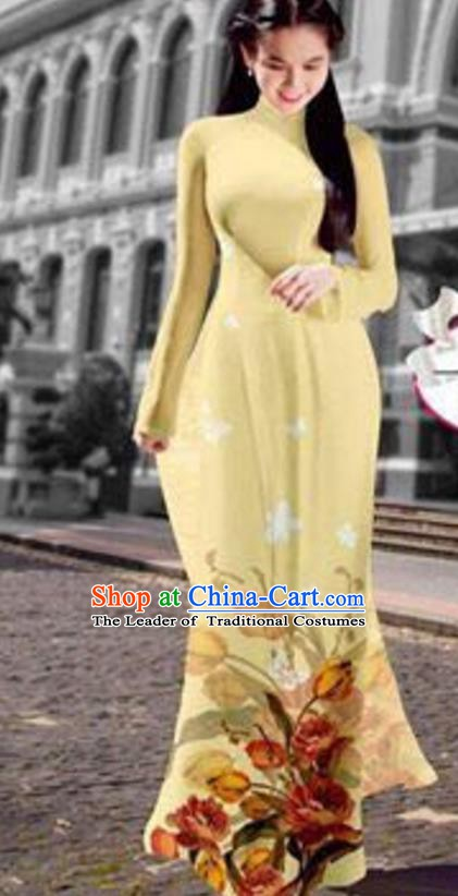 Asian Vietnam Costume Vietnamese Trational Dress Printing Light Yellow Ao Dai Cheongsam Clothing for Women