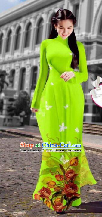 Asian Vietnam Costume Vietnamese Trational Dress Printing Grass Green Ao Dai Cheongsam Clothing for Women