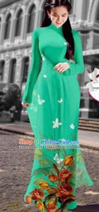 Asian Vietnam Costume Vietnamese Trational Dress Printing Green Ao Dai Cheongsam Clothing for Women