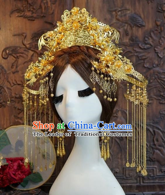 Chinese Handmade Classical Hairpins Hair Accessories Ancient Bride Xiuhe Suit Headwear Golden Phoenix Coronet for Women