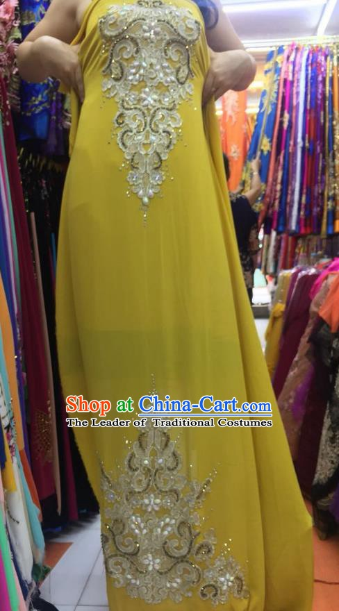 Asian Vietnam Costume Vietnamese Trational Dress Yellow Embroidered Ao Dai Cheongsam Clothing for Women