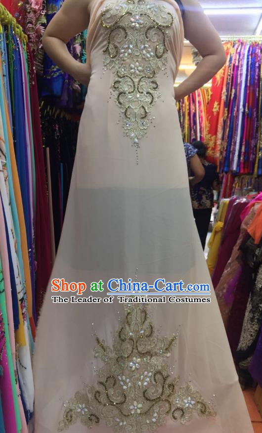 Asian Vietnam Costume Vietnamese Trational Dress Champagne Embroidered Ao Dai Cheongsam Clothing for Women