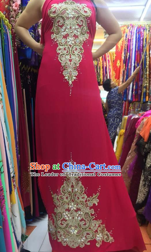 Asian Vietnam Costume Vietnamese Trational Dress Peach Pink Embroidered Ao Dai Cheongsam Clothing for Women