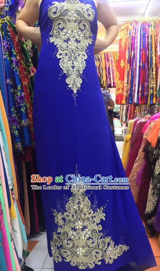 Asian Vietnam Costume Vietnamese Trational Dress Royalblue Embroidered Ao Dai Cheongsam Clothing for Women
