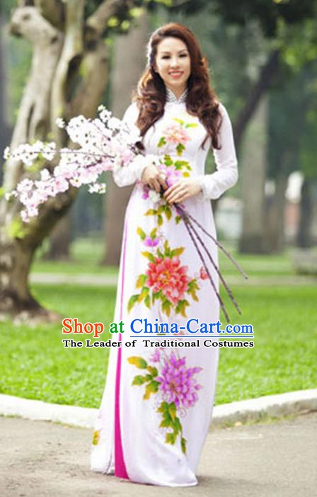 Asian Vietnam Costume Vietnamese Trational Dress Printing Peony White Ao Dai Cheongsam Clothing for Women