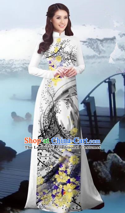 Asian Vietnam Costume Vietnamese Trational Dress Printing White Ao Dai Cheongsam Clothing for Women