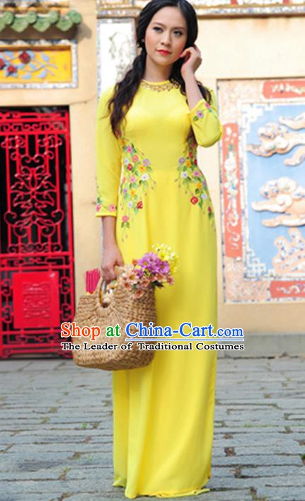 Asian Vietnam Costume Vietnamese Trational Dress Printing Flowers Yellow Ao Dai Cheongsam Clothing for Women