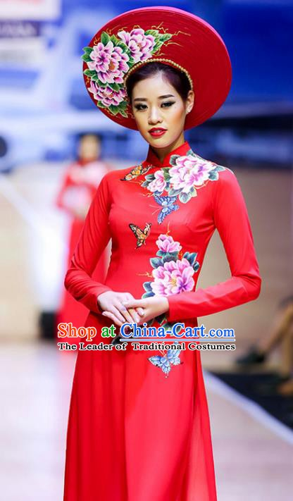 Asian Vietnam Wedding Costume Vietnamese Trational Dress Printing Peony Red Ao Dai Cheongsam Clothing for Women