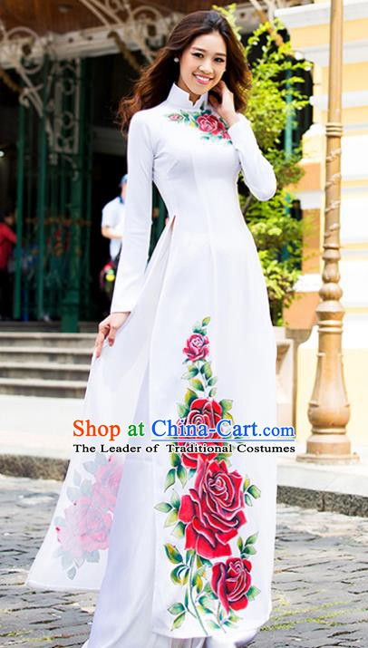 Asian Vietnam Costume Vietnamese Trational Dress Printing Rose White Ao Dai Cheongsam Clothing for Women