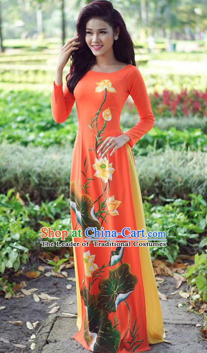 Asian Vietnam Costume Vietnamese Trational Dress Printing Lotus Orange Ao Dai Cheongsam Clothing for Women