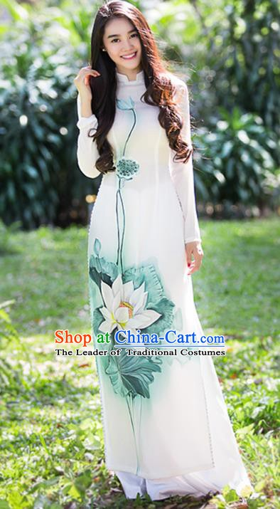 Asian Vietnam Costume Vietnamese Trational Dress Printing Lotus White Ao Dai Cheongsam Clothing for Women