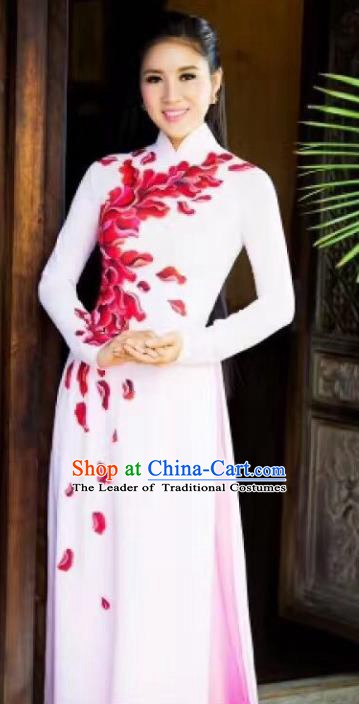 Asian Vietnam Palace Costume Vietnamese Trational Dress Painting White Ao Dai Cheongsam Clothing for Women
