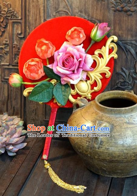 Chinese Handmade Classical Stage Performance Red Fans Ancient Palace Lady Wedding Round Fans for Women