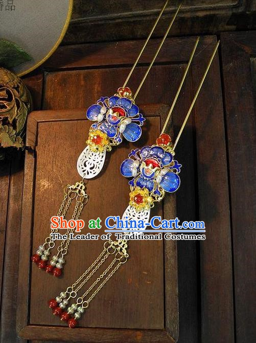 Chinese Handmade Classical Cloisonne Lotus Tassel Hairpins Hair Accessories Ancient Bride Headwear Hair Clip for Women
