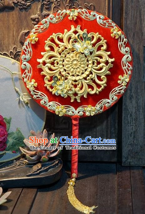 Chinese Handmade Classical Stage Performance Fans Ancient Palace Lady Wedding Red Round Fans for Women
