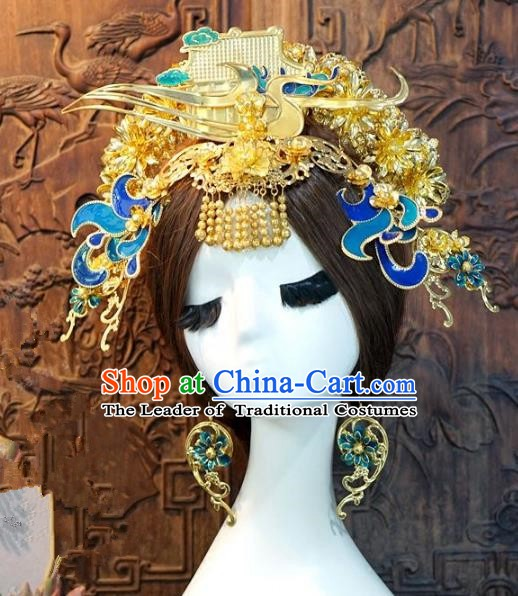 Chinese Handmade Classical Blueing Phoenix Coronet Tassel Hairpins Hair Accessories Ancient Bride Headwear for Women