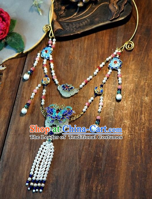 Asian Chinese Traditional Handmade Jewelry Accessories Cloisonne Necklet Bride Long Tassel Necklace for Women