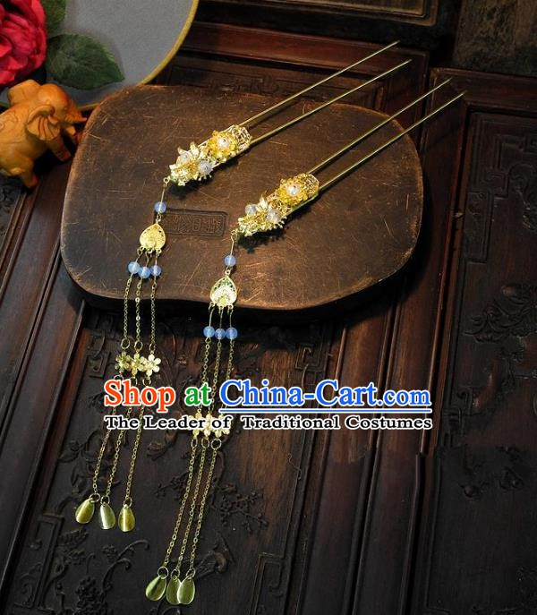 Chinese Handmade Classical Tassel Hairpins Hair Accessories Hair Stick Ancient Bride Headwear for Women