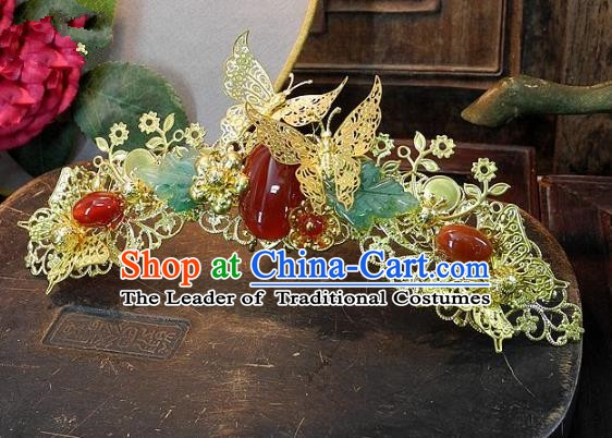 Chinese Handmade Classical Tassel Hairpins Hair Accessories Hair Crown Ancient Bride Headwear for Women
