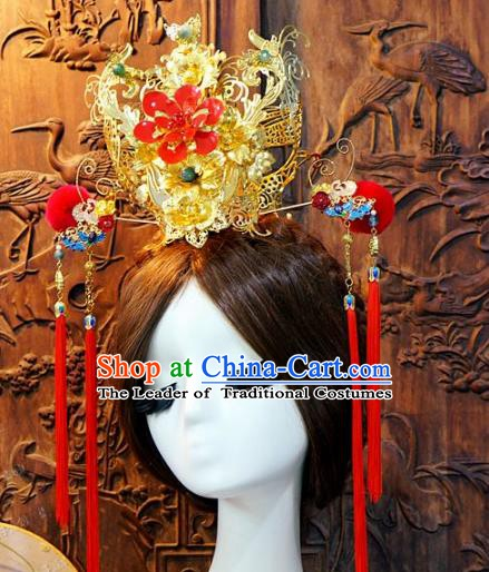 Chinese Handmade Classical Tassel Hairpins Hair Accessories Step Shake Ancient Bride Phoenix Coronet for Women