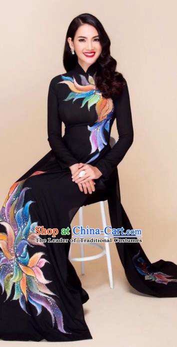 Asian Vietnam Palace Wedding Costume Vietnamese Trational Dress Printing Black Ao Dai Cheongsam Clothing for Women