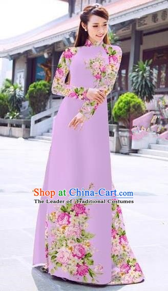 Asian Vietnam Palace Costume Vietnamese Trational Dress Printing Lilac Ao Dai Cheongsam Clothing for Women