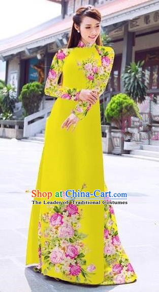 Asian Vietnam Palace Costume Vietnamese Trational Dress Printing Yellow Ao Dai Cheongsam Clothing for Women