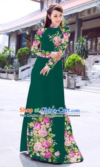 Asian Vietnam Palace Costume Vietnamese Trational Dress Printing Green Ao Dai Cheongsam Clothing for Women