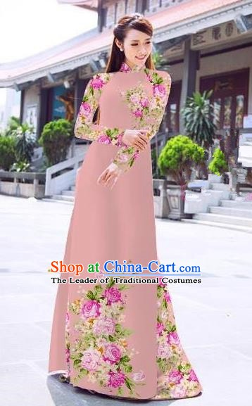 Asian Vietnam Palace Costume Vietnamese Trational Dress Printing Pink Ao Dai Cheongsam Clothing for Women