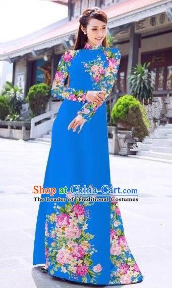 Asian Vietnam Palace Costume Vietnamese Trational Dress Printing Rose Blue Ao Dai Cheongsam Clothing for Women