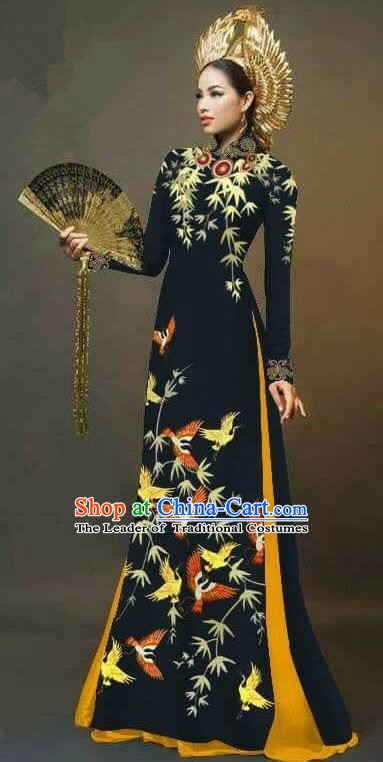 Asian Vietnam National Costume Vietnamese Trational Dress Printing Bamboo Black Ao Dai Cheongsam for Women