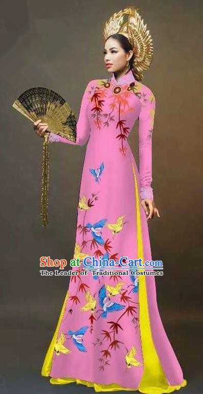 Asian Vietnam National Costume Vietnamese Trational Dress Printing Bamboo Pink Ao Dai Cheongsam for Women
