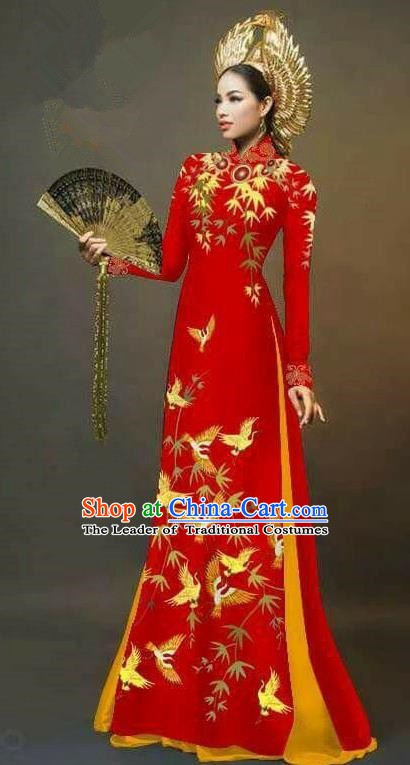 Asian Vietnam National Costume Vietnamese Trational Dress Printing Bamboo Red Ao Dai Cheongsam for Women