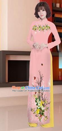 Asian Vietnam National Costume Vietnamese Trational Dress Printing Light Pink Ao Dai Cheongsam for Women