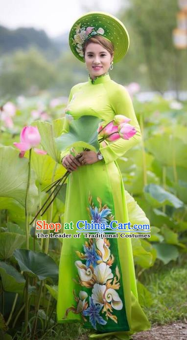 Asian Vietnam National Costume Vietnamese Bride Trational Dress Printing Green Ao Dai Cheongsam for Women