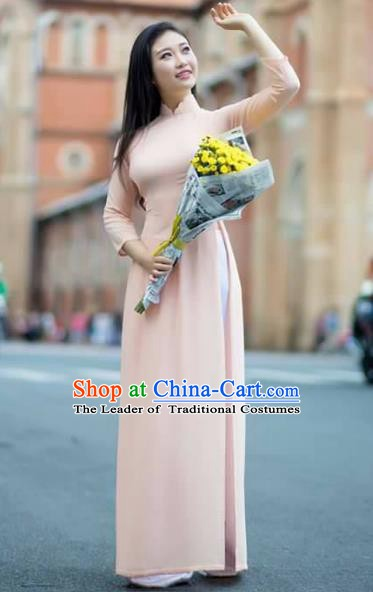 Asian Vietnam National Costume Vietnamese Bride Trational Dress Pink Ao Dai Cheongsam for Women
