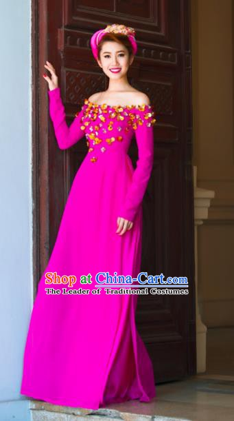 Asian Vietnam National Costume Vietnamese Bride Trational Dress Rosy Ao Dai Cheongsam for Women