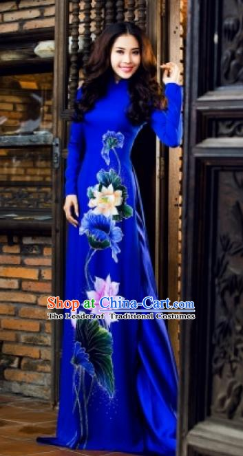 Asian Vietnam National Costume Vietnamese Bride Trational Dress Printing Lotus Royalblue Ao Dai Cheongsam for Women