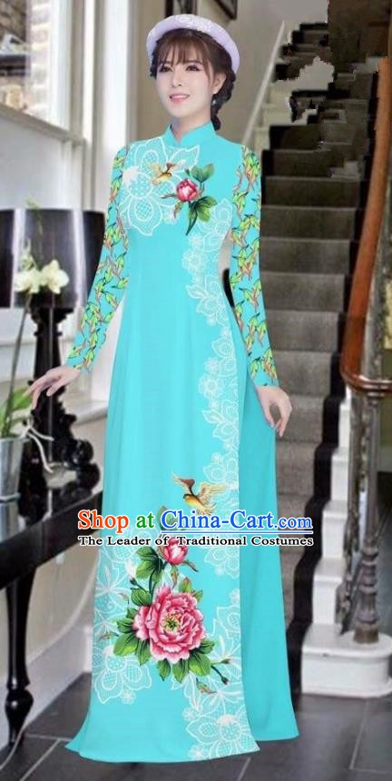 Asian Vietnam National Costume Vietnamese Bride Trational Dress Printing Peony Blue Ao Dai Cheongsam for Women