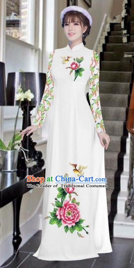 Asian Vietnam National Costume Vietnamese Bride Trational Dress Printing Peony White Ao Dai Cheongsam for Women
