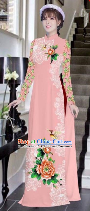 Asian Vietnam National Costume Vietnamese Bride Trational Dress Printing Peony Pink Ao Dai Cheongsam for Women