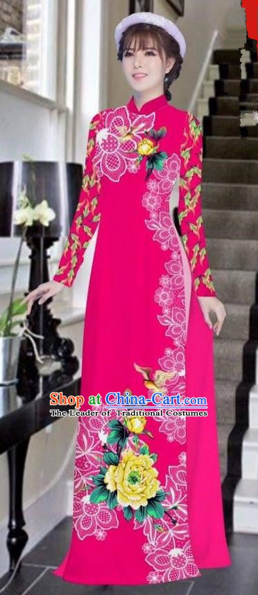 Asian Vietnam National Costume Vietnamese Bride Trational Dress Printing Peony Rosy Ao Dai Cheongsam for Women