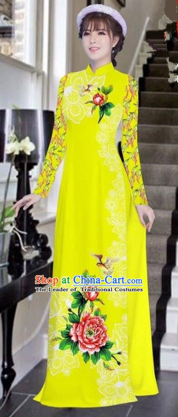 Asian Vietnam National Costume Vietnamese Bride Trational Dress Printing Peony Yellow Ao Dai Cheongsam for Women