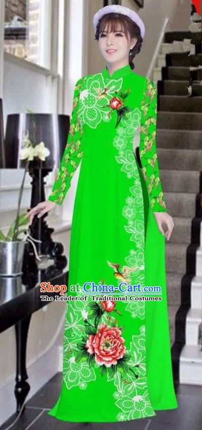 Asian Vietnam National Costume Vietnamese Bride Trational Dress Printing Peony Green Ao Dai Cheongsam for Women
