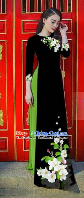 Asian Vietnam National Costume Vietnamese Bride Trational Dress Printing Flowers Black Ao Dai Cheongsam for Women
