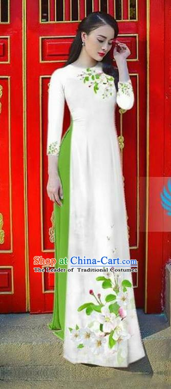 Asian Vietnam National Costume Vietnamese Bride Trational Dress Printing Flowers White Ao Dai Cheongsam for Women