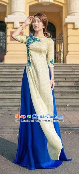 Asian Vietnam Costume Vietnamese Bride Trational Ao Dai Cheongsam Dress for Women