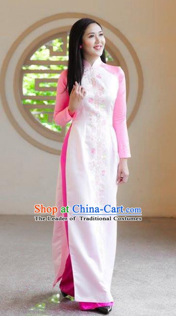 Asian Vietnam Costume Vietnamese Bride Trational White Ao Dai Cheongsam Dress for Women